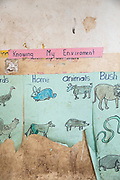 Close-up of animal drawings on paper, The Musoto Christian School, Uganda