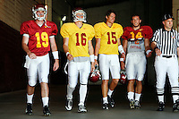 21 August 2008: Quarterbacks #19 Chris McCaffery, #16 Mitch Mustain, #15 Aaron Corp and $14 Garrett Green walk out of the tunnel onto the field for the USC Trojans Pac-10 NCAA College football team final intrasquad scrimmage of fall camp in front of 8,000 fans in the Los Angeles Memorial Coliseum near school campus.  White team (1st and 2nd teamers) defeated the Cardinal (reserves) team 28-7 on Thursday.