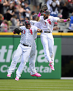CHICAGO - MAY 08:  Melky Cabrera #53 (C), Austin Jackson #10 and Adam Eaton #1 (R) of the Chicago White Sox celebrate after the game against the Minnesota Twins on May 8, 2016 at U.S. Cellular Field in Chicago, Illinois.  The White Sox defeated the Twins 3-1.  (Photo by Ron Vesely)   Subject: Melky Cabrera; Austin Jackson; Adam Eaton