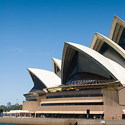 Sydney Opera House viewed from water.