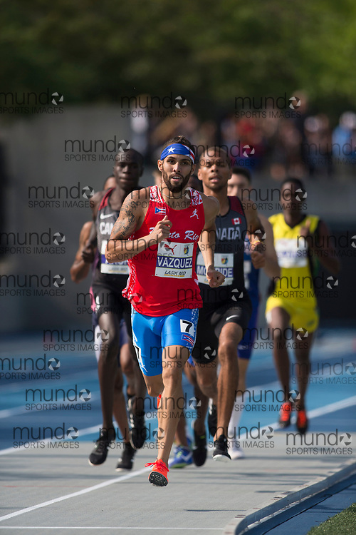 Toronto, ON -- 11 August 2018: Wesley Vazquez (Puerto Rico), 800m final at the 2018 North America, Central America, and Caribbean Athletics Association (NACAC) Track and Field Championships held at Varsity Stadium, Toronto, Canada. (Photo by Sean Burges / Mundo Sport Images).