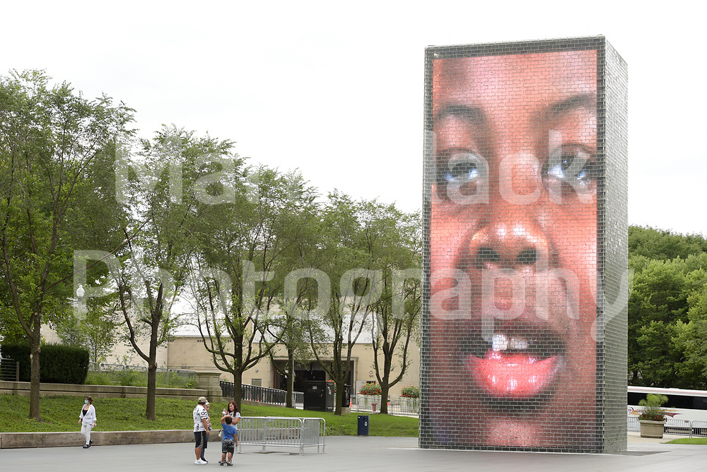 Millennium Park's Crown Fountain LED video sculpture in Chicago, Illinois.<br /> Photo by Mark Black