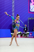 Averina Arina during the final at hoop in Pesaro World Cup 15 April, 2018. Arina is a Russian gymnast born in Zavolž'e on 13 August 1998. She is the 2017 World All-around silver medalist. Her twin sister Dina Averina, also a rhythmic gymnastics athlete.