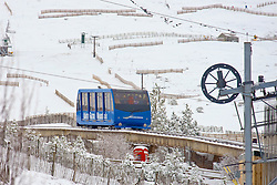 The funicular train at the Cairngorm Ski Area taking skiers up to the ski run at as Storm Doris hits the UK. 24 Feb 2017 (c) Brian Anderson   Edinburgh Elite media