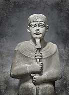 """Ancient Egyptian statue of Ptah - limestone - New Kingdom. 18th Dynasty, reign of Amenhotep III (1390 - 1353 BC), Karnac. Egyptian Museum, Turin. <br /> <br /> Large statue of Egyptian gods are rare and most of them are part of building designs. This imposing statue of Ptah was probably made for the """"Temple of Millions of Years"""", on the west bank of Thebes, promoted by Amenhotep III . When the temple was eventually abandoned its statues were reused in other temples in the region. Drovetti collection C. 87"""