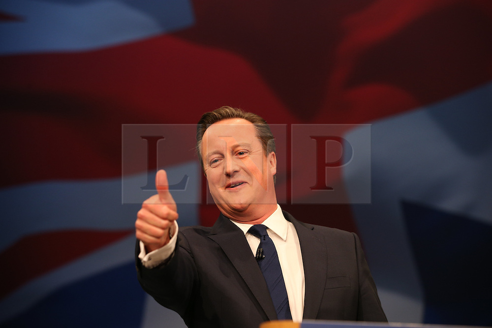 © Licensed to London News Pictures . 07/10/2015 . Manchester , UK. The Prime Minister, DAVID CAMERON delivers the leader's speech. The Conservative Party Conference at the Manchester Central Convention Centre . Photo credit : Joel Goodman/LNP