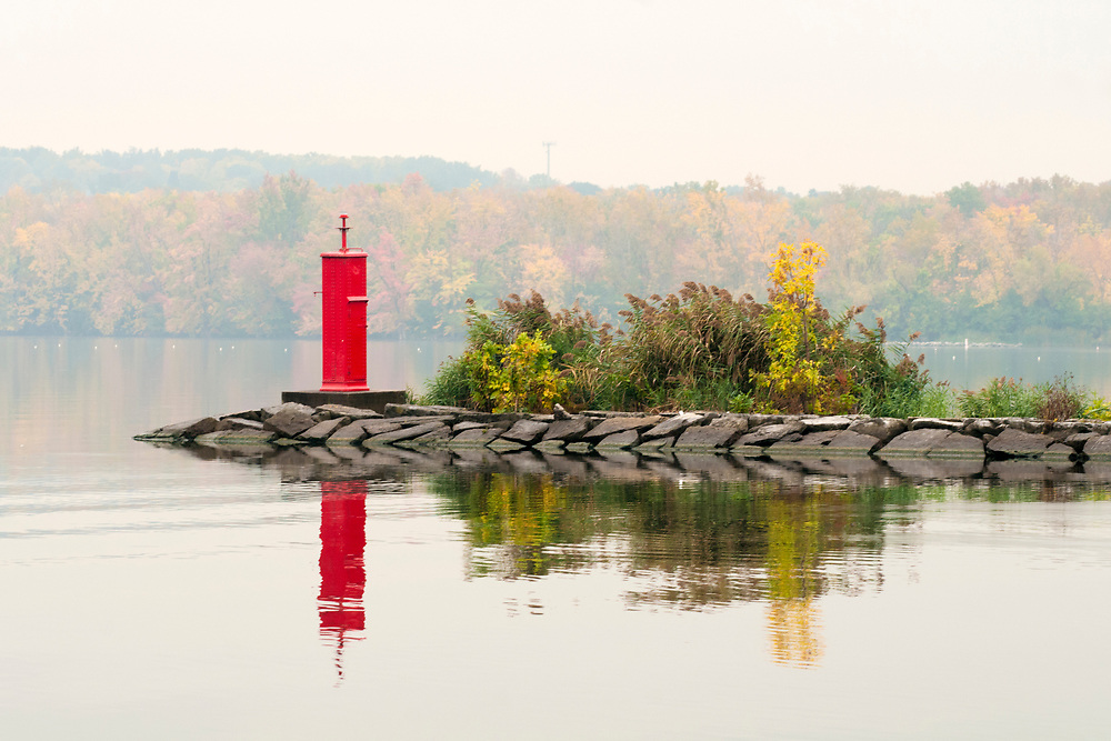 A channel marker at Willow Bay at Onondaga Lake Park in Liverpool, NY on Monday, October 17, 2016. Copyright 2016 Jason Barnette