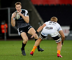 Tom Williams of Ospreys lines up Gerhardus Olivier of Cheetahs<br /> <br /> Photographer Simon King/Replay Images<br /> <br /> Guinness PRO14 Round 2 - Ospreys v Cheetahs - Saturday 8th September 2018 - Liberty Stadium - Swansea<br /> <br /> World Copyright © Replay Images . All rights reserved. info@replayimages.co.uk - http://replayimages.co.uk