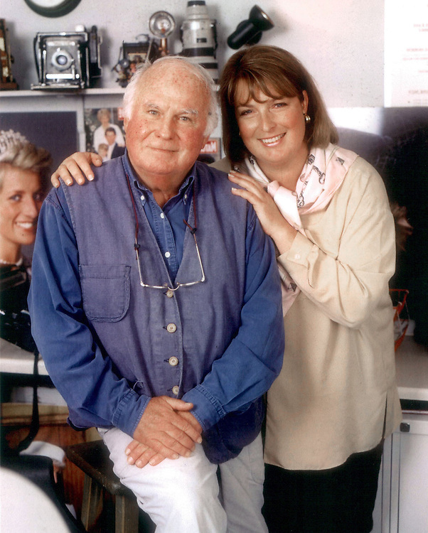 British photographers, Terry Fincher and daughter Jayne Fincher seen in their office in Blackheath, Surrey, UK in 2000.