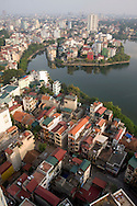 View from above of Truc Bach lake area, Hanoi, Vietnam, Southeast Asia