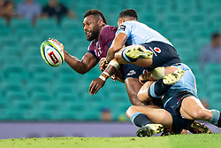 March 9, 2019 - Sydney, NSW, U.S. - SYDNEY, NSW - MARCH 09: Reds player Samu Kerevi (13) gets the pass away at round 4 of Super Rugby between NSW Waratahs and Queensland Reds on March 09, 2019 at The Sydney Cricket Ground, NSW. (Photo by Speed Media/Icon Sportswire) (Credit Image: © Speed Media/Icon SMI via ZUMA Press)