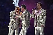 Toppers in Concert 'Royal Night of Disco' in de Amsterdam ArenA.<br /> <br /> Op de foto:  Rene Froger, Jeroen van der Boom en Gerard Joling