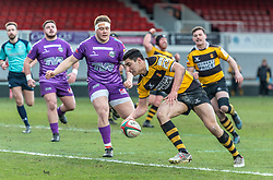 Newports' Adam Sabri scores his sides second try.<br /> <br /> Photographer Simon Latham/Replay Images<br /> <br /> Principality Premiership - Newport v Ebbw Vale - Sunday 4th February 2018 - Rodney Parade - Newport<br /> <br /> World Copyright © Replay Images . All rights reserved. info@replayimages.co.uk - http://replayimages.co.uk