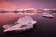 February 01 - Stunning afternoon light at Jökulsárlón, called the glacier lagoon with Mt.Fellsfjall in the background.<br /> <br /> Glacier Lagoon