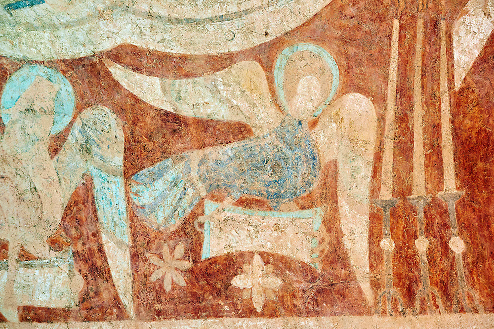 Romanesque fresco of an angel in the altar vault of the Norman Church of St Mary's Kempley Gloucestershire, England, Europe .<br /> <br /> Visit our MEDIEVAL PHOTO COLLECTIONS for more   photos  to download or buy as prints https://funkystock.photoshelter.com/gallery-collection/Medieval-Middle-Ages-Historic-Places-Arcaeological-Sites-Pictures-Images-of/C0000B5ZA54_WD0s