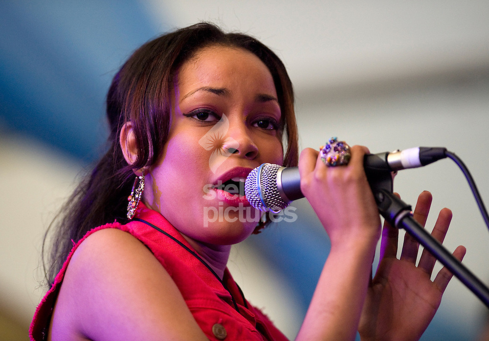 Picture by Daniel Hambury. .16/7/11..Dionne Bromfield performs at Latitude, a music and arts festival set on the Henham Estate in Suffolk..The event runs from July 14th to 17th 2011.