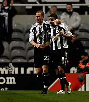 Photo: Jed Wee/Sportsbeat Images.<br /> Newcastle United v AZ Alkmaar. UEFA Cup. 08/03/2007.<br /> <br /> Newcastle's Kieron Dyer (R) is congratulated by a smiling Nicky Butt.
