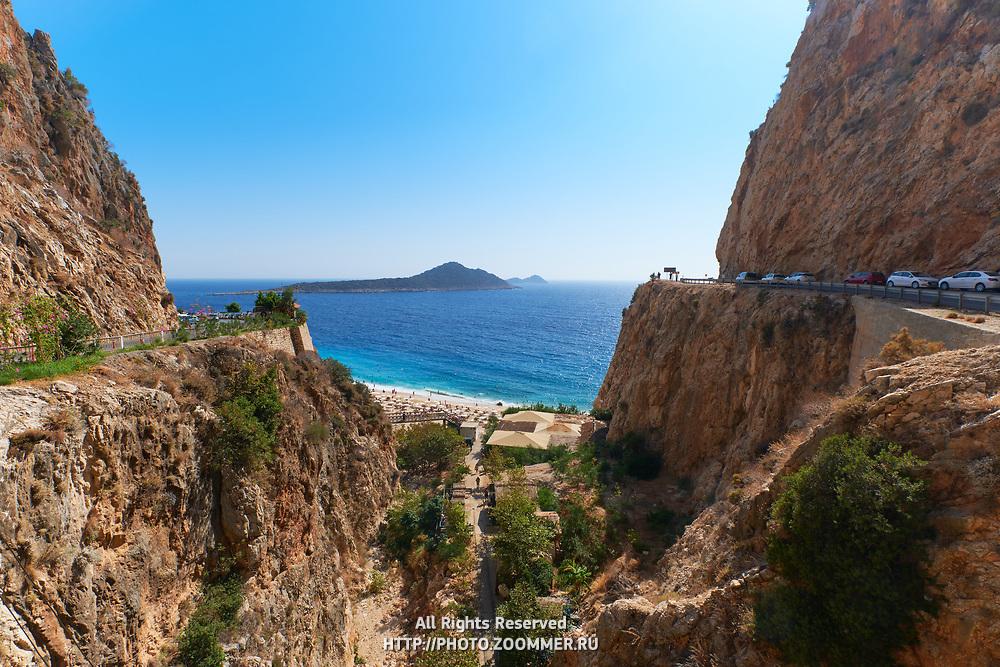 Road near famous Kaputas beach and gorge in turkish turquoise coast