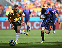 June 18 2014 Australia s Alex Wilkinson (L) vies with Netherlands Arjen Robben   during A Group B Match between Australia and Netherlands of 2014 FIFA World Cup June 18 2014 World Cup 2014 Group B Australia vs Netherlands <br /> Nederland - Australia<br /> <br /> Norway only
