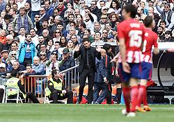 April 8, 2018 - Madrid, Madrid, Spain - Diego Pablo Simeone (Club Atletico de Madrid) during the match between Real Madrid and Atletico de Madrid FC at Estadio Santiago Bernabeu. (Credit Image: © Manu Reino/SOPA Images via ZUMA Wire)