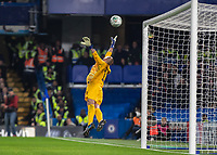 Football - 2019 / 2020 EFL Carabao (League) Cup - Fourth Round: Chelsea vs. Manchester United<br /> <br /> Wilfredo Caballero (Chelsea FC) is helpless in the air as Marcus Rashford (Manchester United) drives his free kick into the top corner at Stamford Bridge <br /> <br /> COLORSPORT/DANIEL BEARHAM