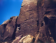 CS00962-14. Indian rock art at Petroglyph Canyon before it was submerged by the backwater of The Dalles dam. 1940s photo.