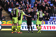 Yeovil Town's Kieffer Moore (13) is sent off  during the Skybet championship match, Reading v Yeovil Town at the Madejski Stadium in Reading, Berkshire on Saturday 1st March 2014.<br /> pic by Jeff Thomas, Andrew Orchard sports photography.