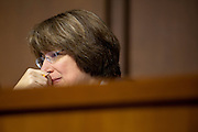 Senator AMY KLOBUCHAR (D-MN) listens as Dean Tofteland, farmer from Luverne, MN. testifies before a Senate Agriculture, Nutrition and Forestry Committee hearing on the the effect of  the bankruptcy of MF Global Holdings Ltd. on his farming business.