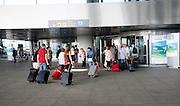 Passengers arriving at Malaga airport, Spain