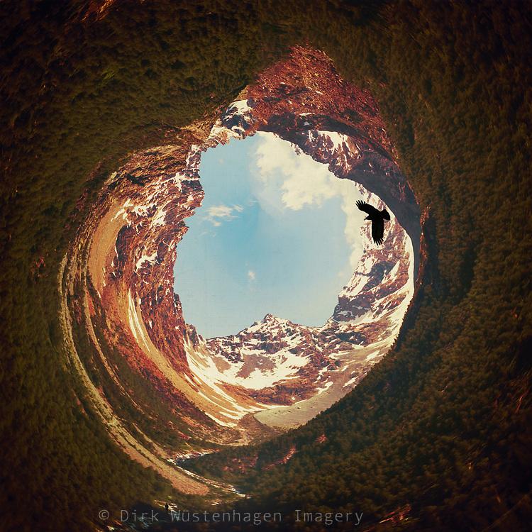 surreal mountain landscape using polar coordinates filter