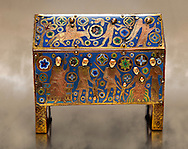 Gothic chest decorated with the Slaughter of the Innocents from Limoges Circa 1210-1220. Engraved copper with inlaid enamel  enamel champlevé and glass on wooden core. National Museum of Catalan Art, Barcelona, Spain, inv no: MNAC 65529 .<br /> <br /> If you prefer you can also buy from our ALAMY PHOTO LIBRARY  Collection visit : https://www.alamy.com/portfolio/paul-williams-funkystock/limoges-enamel-antiquities.html . Type -     MNAC     - into the LOWER SEARCH WITHIN GALLERY box. Refine search by adding background colour etc<br /> <br /> Visit our MEDIEVAL ART PHOTO COLLECTIONS for more   photos  to download or buy as prints https://funkystock.photoshelter.com/gallery-collection/Medieval-Middle-Ages-Art-Artefacts-Antiquities-Pictures-Images-of/C0000YpKXiAHnG2k