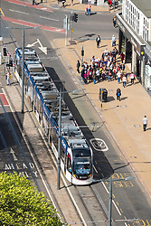 Edinburgh tram on Princes Street shopping street in central Edinburgh, Scotland, UK