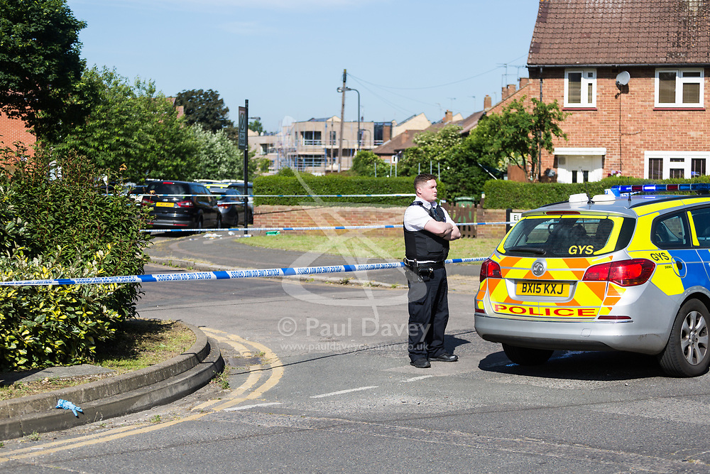 The scene at the intersection of Cole Crescent and Scott Crescent in Harrow where a 17-year-old was stabbed on the night of Sunday 10th June, leaving him in critical condition. June 11 2018.