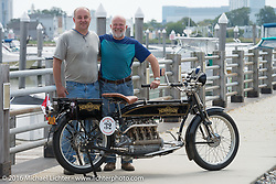 Henderson restorer extraordinaire Mark Hill with Byrne Bramwell of Ontario, Canada and Byrne's 4-cylinder Mark Hill restored 1913 Henderson class-2 bike before the start of the Motorcycle Cannonball Race of the Century Run. Atlantic City, NJ, USA. September 9, 2016. Photography ©2016 Michael Lichter.