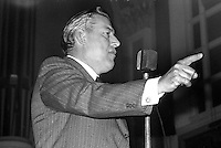 Rev Ian Paisley addressing a rally in the Ulster Hall, Belfast, N Ireland, 3rd December 1973, in which he called for supporters of his political opponent, Ulster Unionist Party leader, Brian Faulkner, to be sent to Coventry. 197312030738a<br /> <br /> Copyright Image from Victor Patterson, 54 Dorchester Park, <br /> Belfast, UK, BT9 6RJ<br /> <br /> t1: +44 28 9066 1296 (from Rep of Ireland 048 9066 1296)<br /> t2: +44 28 9002 2446 (from Rep of Ireland 048 9002 2446)<br /> m: +44 7802 353836<br /> <br /> e1: victorpatterson@me.com<br /> e2: victorpatterson@gmail.com<br /> <br /> www.victorpatterson.com<br /> <br /> Please see my Terms and Conditions of Use at www.victorpatterson.com. It is IMPORTANT that you familiarise yourself with them.<br /> <br /> Images used on the Internet must be visibly watermarked i.e. © Victor Patterson within the body of the image and copyright metadata must not be deleted. Images used on the Internet have a size restriction of 4kbs and will be chargeable at current NUJ rates unless agreed otherwise.<br /> <br /> This image is only available for the use of the download recipient i.e. television station, newspaper, magazine, book publisher, etc, and must not be passed on to any third party. It is also downloaded on condition that each and every usage is notified within 7 days to victorpatterson@me.com<br /> <br /> The right of Victor Patterson to be identified as the author is asserted in accordance with The Copyright Designs And Patents Act (1988).