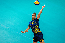 Jacob Link of Sweden in action during the CEV Eurovolley 2021 Qualifiers between Sweden and Netherlands at Topsporthall Omnisport on May 14, 2021 in Apeldoorn, Netherlands