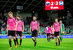 Christophe Berra  of Scotland, Charlie Mulgrew of Scotland, Steven Fletcher of Scotland, Kieran Tierney of Scotland after the football match between National Teams of Slovenia and Scotland of Fifa 2018 World Cup European qualifiers, on October 8, 2017 in SRC Stozice, Ljubljana, Slovenia. Photo by Vid Ponikvar / Sportida