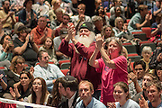 Supporters applaud Democratic presidential candidate Senator Bernie Sanders during a campaign rally at the Memminger Theater February 16, 2016 in Charleston, South Carolina, USA.