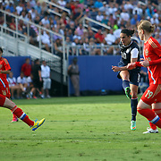 U.S. midfielder Carli Lloyd (10) scores a goal during an international friendly soccer match between the United States Women's National soccer team and the Russia National soccer team at FAU Stadium on Saturday, February 8, in Boca Raton, Florida. (AP Photo/Alex Menendez)