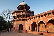 The Taj Mahal Mosque red sandstone and white marble dome at dawn, Uttar Pradesh, India