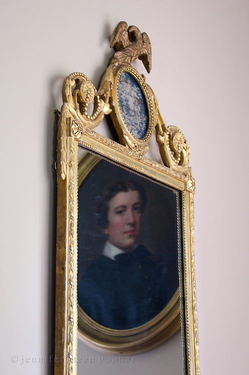 Federal-era mirror and painting at the Woodlawn Museum, Ellsworth, Maine.