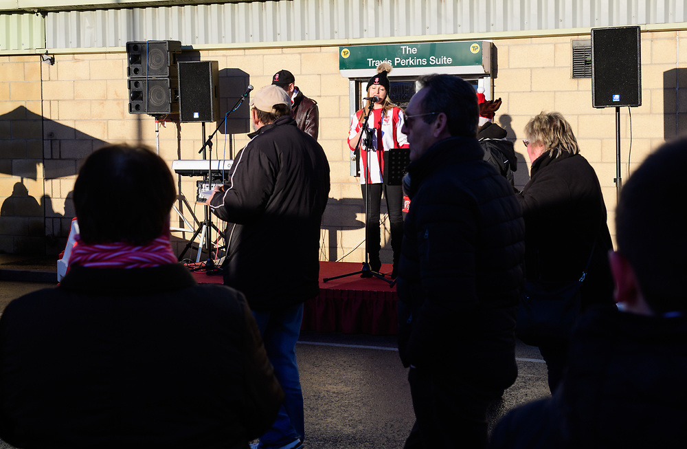 Lincoln City fans enjoy the pre-match atmosphere<br /> <br /> Photographer Chris Vaughan/CameraSport<br /> <br /> The EFL Sky Bet League Two - Lincoln City v Accrington Stanley - Saturday 16th December 2017 - Sincil Bank - Lincoln<br /> <br /> World Copyright © 2017 CameraSport. All rights reserved. 43 Linden Ave. Countesthorpe. Leicester. England. LE8 5PG - Tel: +44 (0) 116 277 4147 - admin@camerasport.com - www.camerasport.com