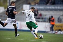 Hibernian's Boyle scoring their first goal. <br /> Falkirk 0 v 3 Hibernian, Scottish Championship game played at The Falkirk Stadium 2/5/2015.