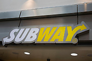 Sign for the sandwich shop and brand Subway in Birmingham, United Kingdom.