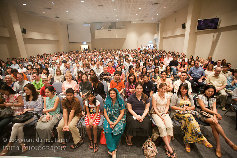 A view of the congregation from the stage at the Evangelical Church of Bangkok (ECB) during the Easter service on 24 April 2011 in Bangkok, Thailand. Easter service was a full house.