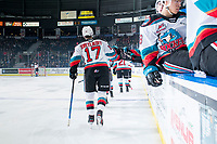KELOWNA, BC - JANUARY 24: Alex Swetlikoff #17 of the Kelowna Rockets celebrates a first period goal against the Seattle Thunderbirds at Prospera Place on January 24, 2020 in Kelowna, Canada. (Photo by Marissa Baecker/Shoot the Breeze)