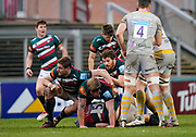 Leicester Tigers hooker Julián Montoya and Leicester Tigers lock Calum Green protect the ball during a Gallagher Premiership Round 10 Rugby Union match, Friday, Feb. 20, 2021, in Leicester, United Kingdom. (Steve Flynn/Image of Sport)