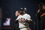 San Francisco Giants third baseman Pablo Sandoval (48) reacts to getting hit in the forearm by a wild pitch during a MLB game against the Milwaukee Brewers at AT&T Park in San Francisco, California, on August 21, 2017. (Stan Olszewski/Special to S.F. Examiner)
