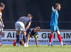 Raith Rovers Kyle Benedictus off injured. Airdrie 3 v 4 Raith Rovers, Scottish Football League Division One played 25/8/2018 at the Excelsior Stadium.
