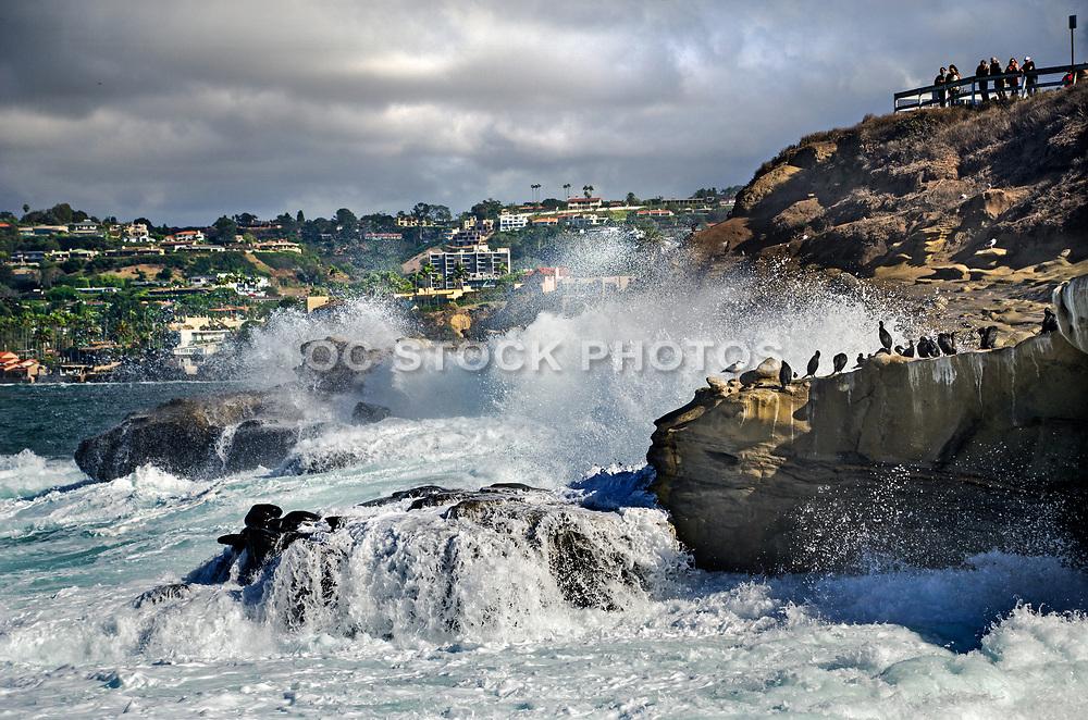 Crashing Waves Against the Rocks at La Jolla Cove